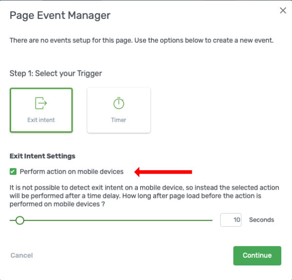 Page Event Exit Intent