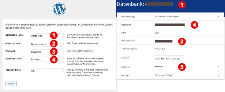 Datenbank Zugangsdaten eintragen