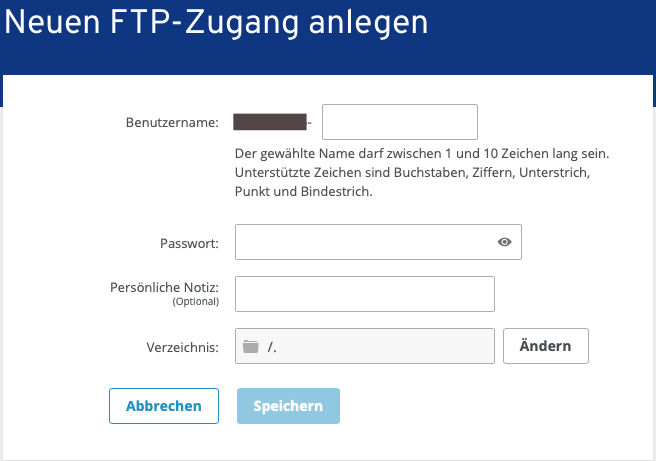 FTP-Zugang anlegen