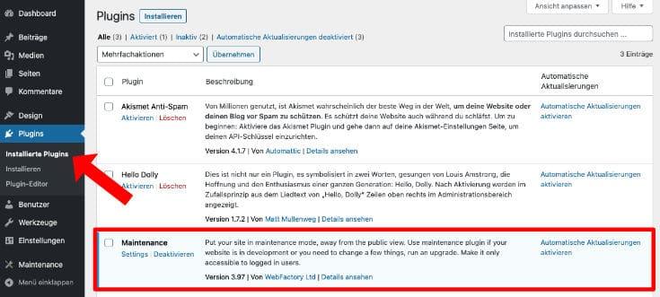 Installiertes WordPress Plugin