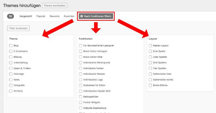 Kostenlose WordPress Themes nach Funktionen filtern
