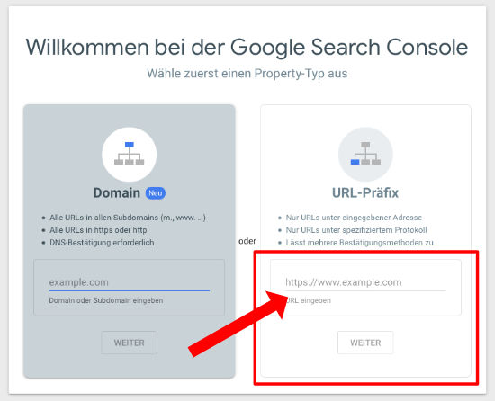Search Console Webseite anmelden