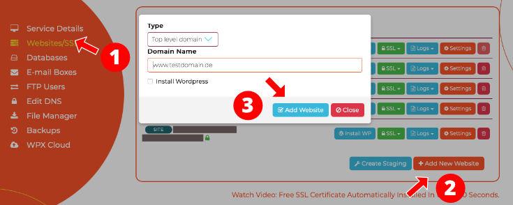 Webseite einrichten WPX