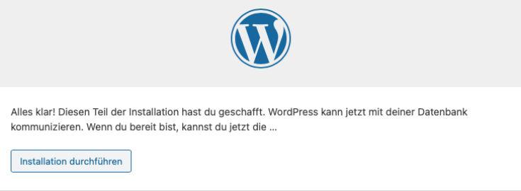 Wordpress Installation durchführen