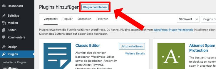 Wordpress Plugin manuell installieren
