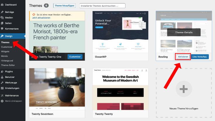 Wordpress Theme aktivieren Backend