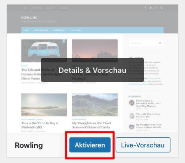 Wordpress Theme noch aktivieren
