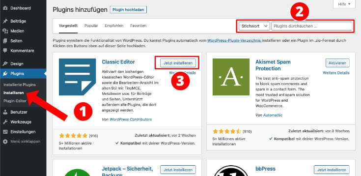Wordpress Plugin aussuchen im Backend