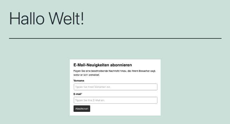 ActiveCampaign Newsletter in WordPress eingefügt