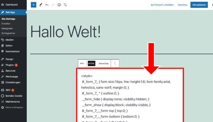 HTML Code Activecampaign einfügen