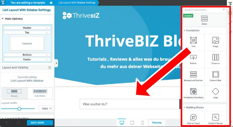Thrive Theme Builder Editor